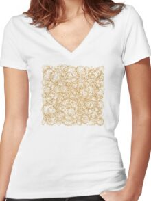 Gold Thread on White Abstract Women's Fitted V-Neck T-Shirt