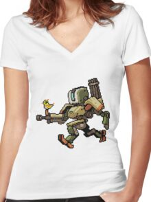 Pixel Bastion Women's Fitted V-Neck T-Shirt