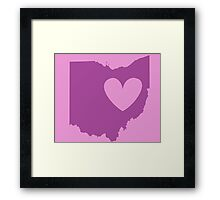 Ohio is Where the Heart is (Purple) Framed Print