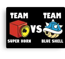 Team super horn vs team blue shell Canvas Print