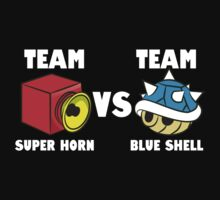 Team super horn vs team blue shell One Piece - Short Sleeve