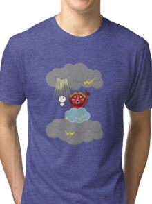 God of thunder! Stamp of Inazuma Mamehati. Tri-blend T-Shirt