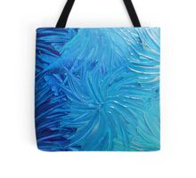 WATER FLOWERS 2 - Stunning Ocean Beach BC Waves Floral Abstract Acrylic Painting Turquoise Blue Tote Bag