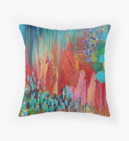 REVISIONED RETRO - Bright Bold Red Abstract Acrylic Colorful Painting 70s Twist Vintage Style Hip Throw Pillow