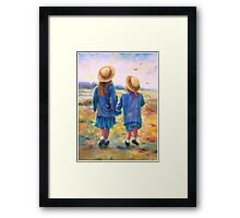 TWO SISTERS HAND IN HAND Framed Print