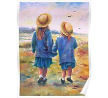TWO SISTERS HAND IN HAND Poster