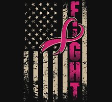 Fighting Flag T-Shirt Breast Cancer Awareness Shirts Womens Fitted T-Shirt