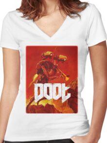 Doot Toot (Doom Shirt) Style #1 Women's Fitted V-Neck T-Shirt