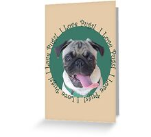 Cute I Love Pugs! T-Shirt or Hoodie Greeting Card