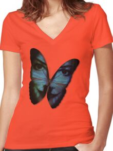Am I A Butterfly Who Dreams About Being A Human? Women's Fitted V-Neck T-Shirt