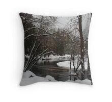 Snowy river in Yosemite Throw Pillow