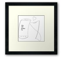 Screen Protector Love - Sketch Framed Print