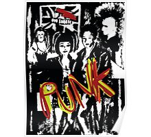 punk music fans in black and white  Poster