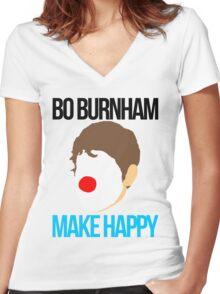 Bo Burnham - Make Happy Women's Fitted V-Neck T-Shirt