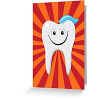 Happy tooth with toothpaste card Greeting Card