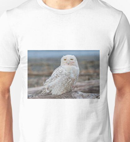 Snowy Owl Watching from a Driftwood Perch Unisex T-Shirt