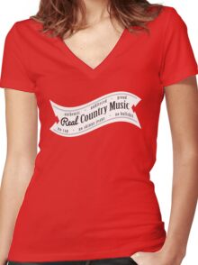 Real Country Music (white ink) Women's Fitted V-Neck T-Shirt