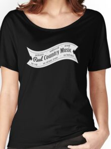 Real Country Music (white ink) Women's Relaxed Fit T-Shirt