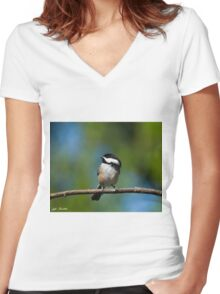 Black Capped Chickadee Perched on a Branch Women's Fitted V-Neck T-Shirt
