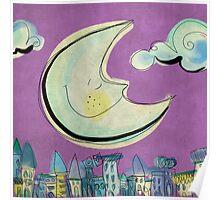 Moon - purple Poster