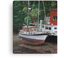 Two boats on Eling Mudflats Canvas Print