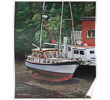 Two boats on Eling Mudflats Poster