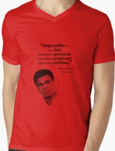 Muhammad Ali - Impossible - Dare, Potential, is Nothing Mens V-Neck T-Shirt