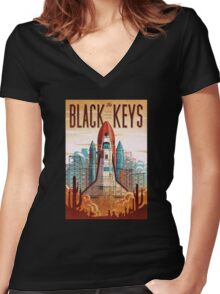Black Keys Women's Fitted V-Neck T-Shirt
