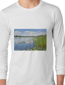 Puffy Clouds Reflected in a Lake Long Sleeve T-Shirt