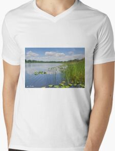 Puffy Clouds Reflected in a Lake Mens V-Neck T-Shirt