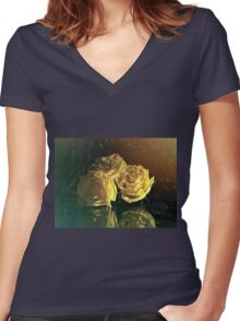 """La Rosa Amarilla"" by Lena Owens Women's Fitted V-Neck T-Shirt"