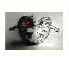 Painted Yin and Yang Chibi Cartoon Art Print