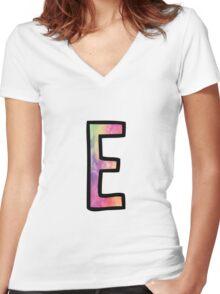 Letter E Women's Fitted V-Neck T-Shirt