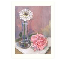 Pink Rose and Daisy Art Print