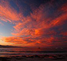 wild autumn sunset. waubs bay, bicheno, tasmania by tim buckley | bodhiimages
