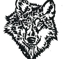 Daily Doodle 38 - Wild - Wolf Face Black by ArtbyMinda