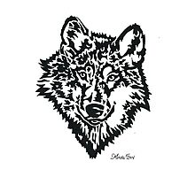Daily Doodle 38 - Wild - Wolf Face Black Photographic Print