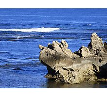 Rock in a Blue Sea Photographic Print