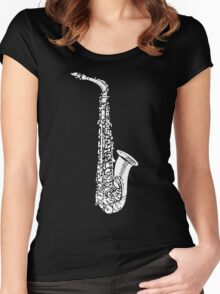 Vintage Jazz Saxophone Women's Fitted Scoop T-Shirt