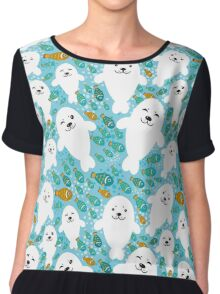 cute seal and fish in water Chiffon Top