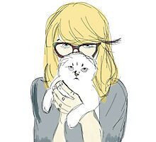 Tsundere Girl with White Cat Sketch Photographic Print