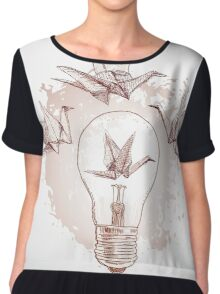 Origami paper cranes and light  Chiffon Top