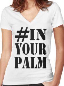 #InYourPalm (Black) Women's Fitted V-Neck T-Shirt