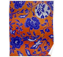 Blue and Orange Pattern Poster