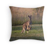 "Kangaroo with ""Boxing"" Joey -Vacy, NSW Australia Throw Pillow"