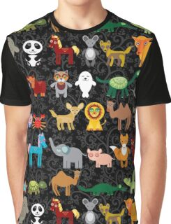 Animals on black background Graphic T-Shirt