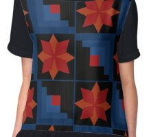Bright abstract pattern geometric black Chiffon Top