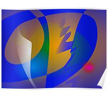 Striking Blue Abstract Art Poster