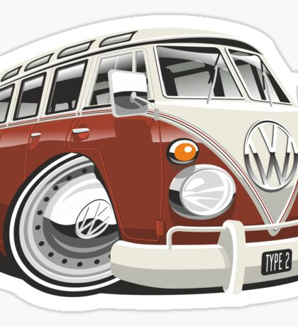 VW T1 bus caricature red Sticker