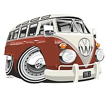 VW T1 bus caricature red Photographic Print